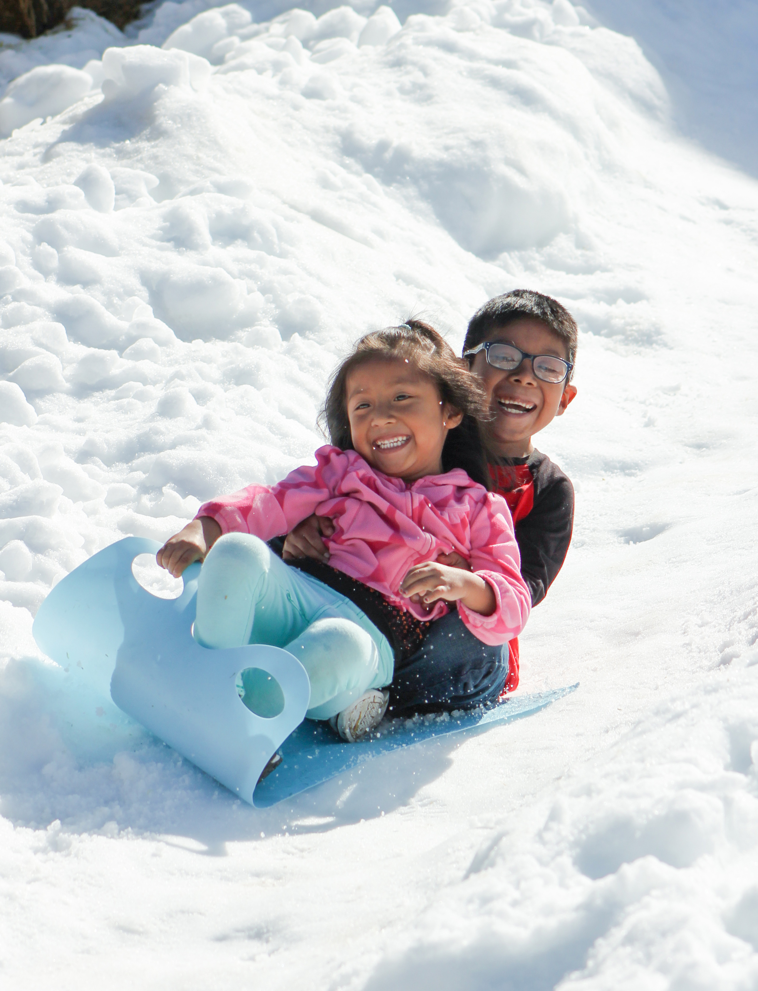 Brother and Sister Sledding Snow Hill Poway Community Park Winter Festival