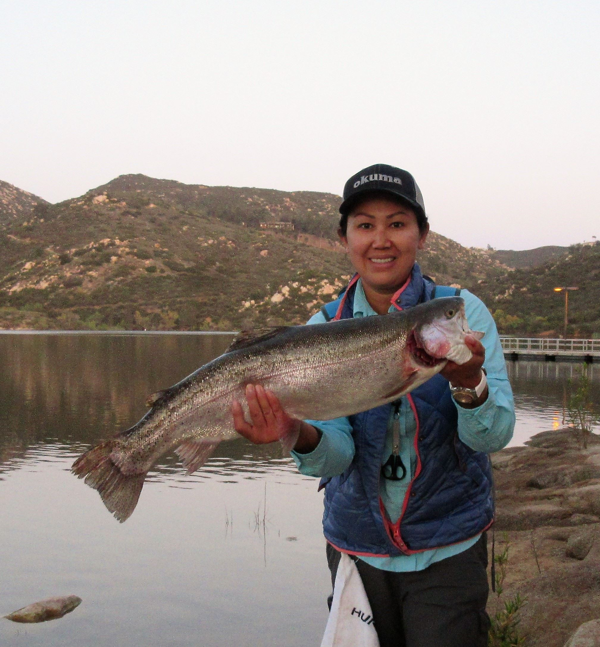 Karen Oswald, 4S Ranch, 18 Apr 2018, 10.96 lb. , 4 trout, 1 Cat, Gold Kastmaster, North of Fishing P