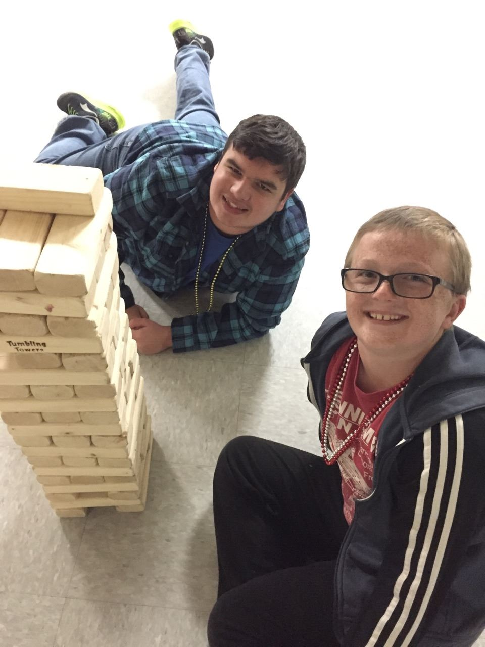 Teens Playing Mega Jenga