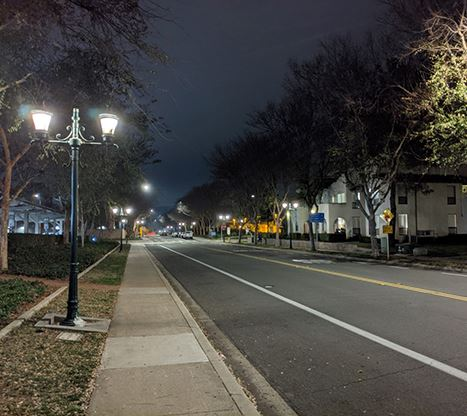 LED lights on Civic Center Drive