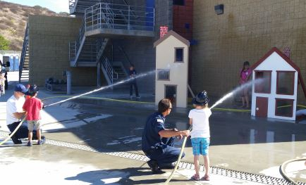 Kids and Firefighters at Open House